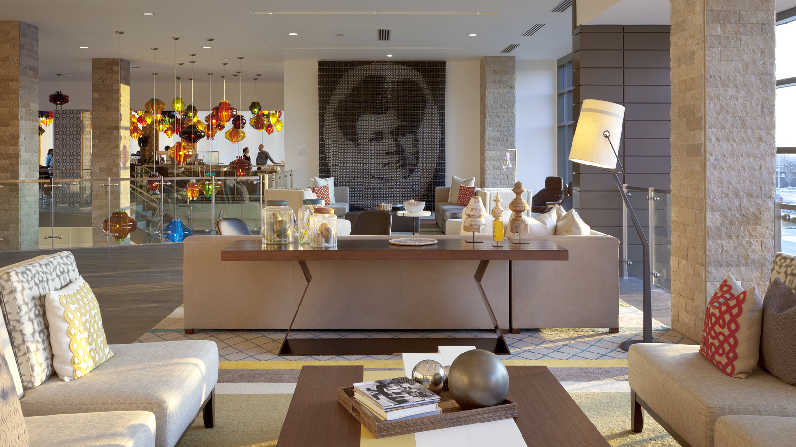 The Alexander Hotel lobby featuring art