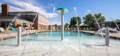 Splash pad and pool at Gramercy in Carmel, Indiana
